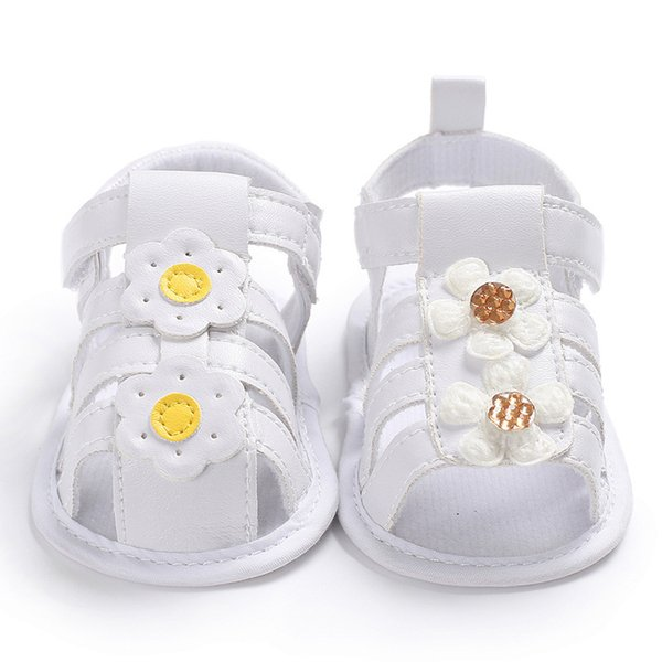 Baby Summer Flower Shoes Newborn Girls Princess Shoes Moccasins Gold&Yellow Kids Slippers Prewalkers For 0-18M Kid Girls