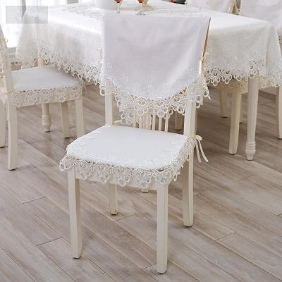 Wholesale-S&V European classics White lace Chair pad Hollow out Fabric cloth Back cushion Wedding chair covers