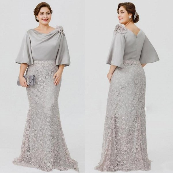 Silver Plus Size Mother Of The Bride Dresses Lace Applique Half Long Sleeve  Mother\'S Gown Mermaid Formal Dress Evening Wear Sweep Train Mother Of The  ...