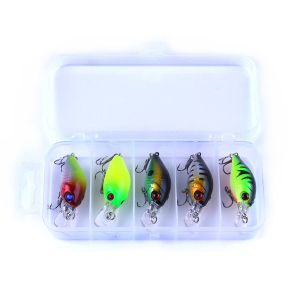 5pc 4.2g Fishing Lure Kit Minnow floating Lure Isca Crankbait Bait Pesca Jig Fishing Hook Set With Fishing Tackle Box