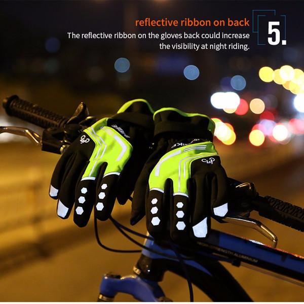 Guanti invernali da ciclista 2018 Guanti da bicicletta per bici da ciclismo con imbottitura termica completa di dita, guanti tattili da uomo con schermo a sfioramento GW969R