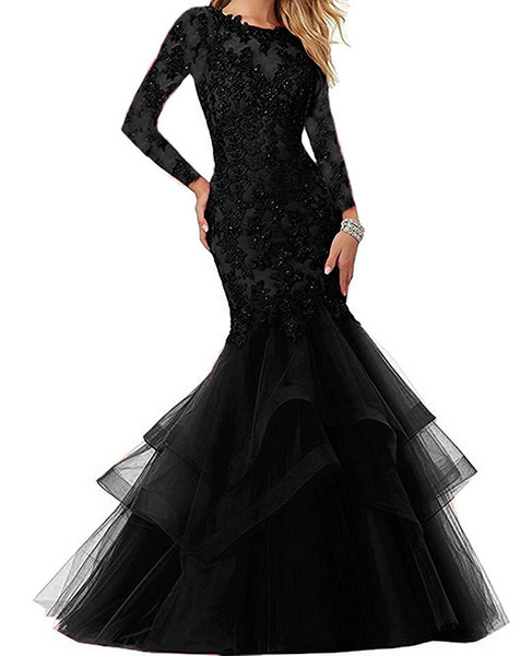 Sexy Black Prom Dresses Poet Sleeves Sheer Neck Plunging Mermaid Evening Dress Long Real Images Cocktail Party Gowns