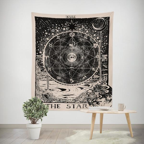 tentures murales vintage européen sorcellerie ouija tapisserie soleil étoile de lune dortoir chambre tête de lit tapis boho couverture