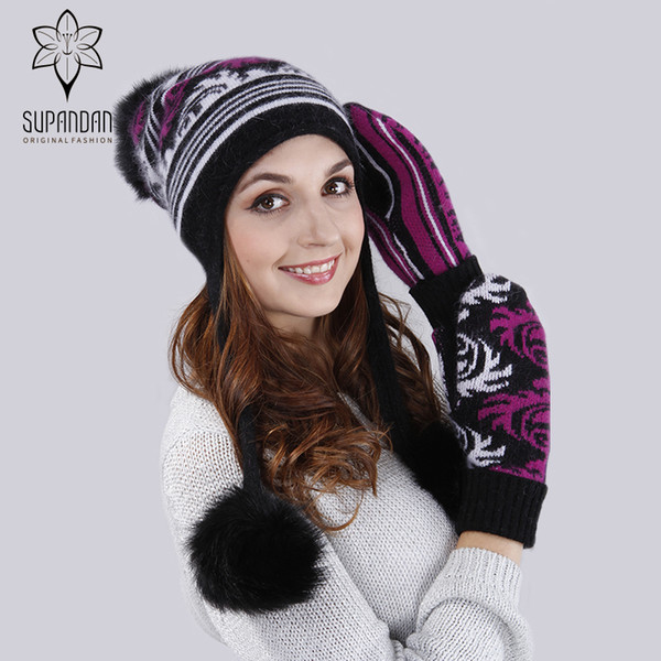 SUPANDAN Knitted Ear cuff Hat Scarf Gloves Set Women Caps Double Warm Fox Fur Poms New Christmas Wool Feminino Beanies 8489HU7