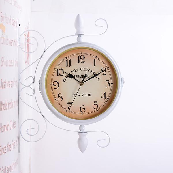 TUDA envío gratis reloj de pared de doble cara Mute Reloj de pared de hierro para sala de estar grande