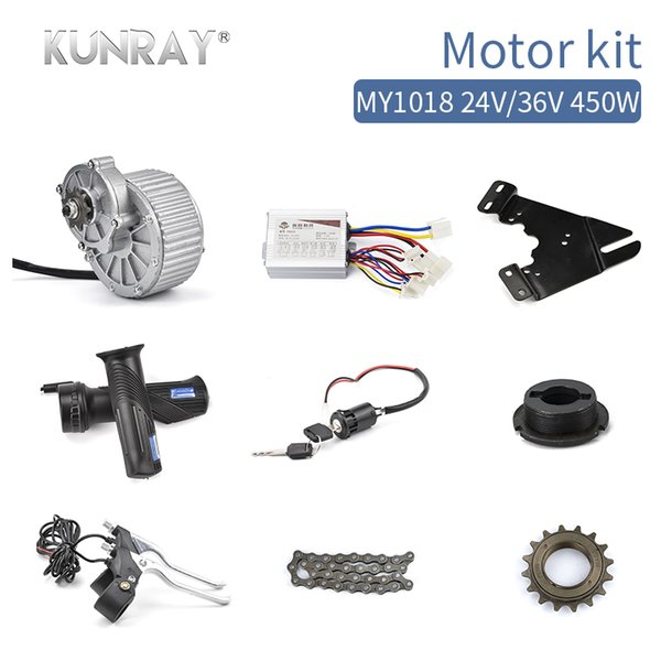 Electric Bicycle Conversion Kit MY1018 450W 24V 36V Brushed DC Motor Sets For 22inch-28inch Bike DIY Ebike Accessories E-brake