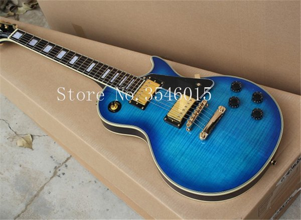 Ree Shipping Factory personalizado loja Nova Top Quality Mahogany guitarra paul guitar CUSTOM Ripple Azul Burst