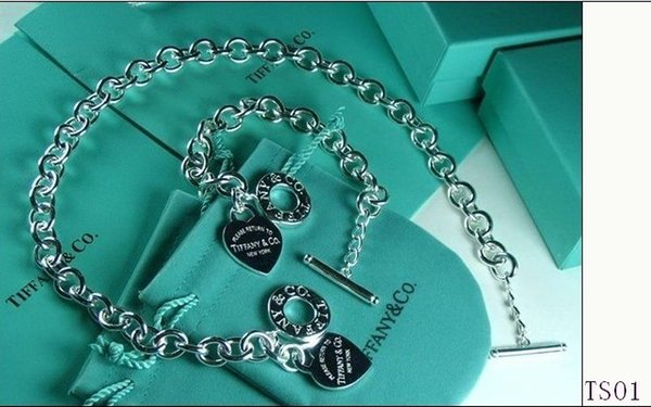 Free Shipping 2018 Hot Tiffany925 Silver fashion jewelry necklace and bracelet original packaging gift boxes TS01 Set with box HOT
