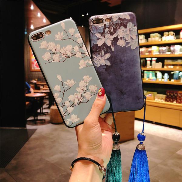 Nuevo estuche para iphone XS MAX XR 7 8 6 s más caja de silicona romántica Lotus Peony suave para samsung s8 s9 más nota 8 9 Todo incluido femenino