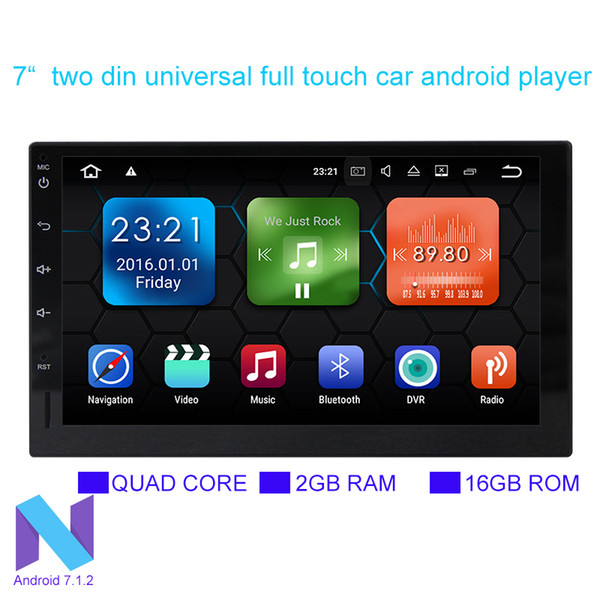 "2018 7"" double din 12V car DVD Android 7.1.2 audio and video player HD capacitive touch screen 1080P video GPS 2GB RAM WIFI 3G mirror link"