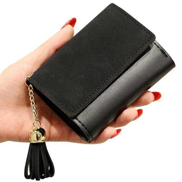 Short Women Wallets Retro PU Leather Lady Moneybags Coin Purse Pocket Tassels Woman Wallet Cards ID Holder Purses Bags Notecase