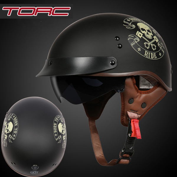 Original TORC T55 half face motorcycle helmet with internal controllable sunglasses DOT approved light weight chooper helmet