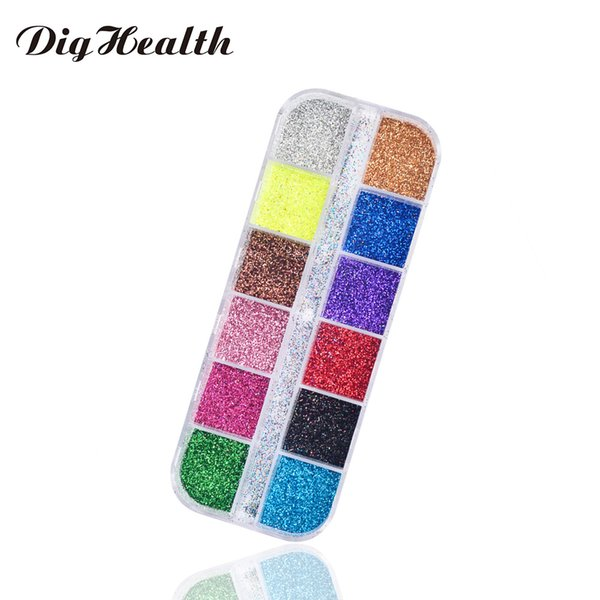 Dighealth 12 Colors Nail Glitter Powder Laser Mixed Art DIY Charm Dust Sequins Shinning Colorful Nail Flakes Decoration tools