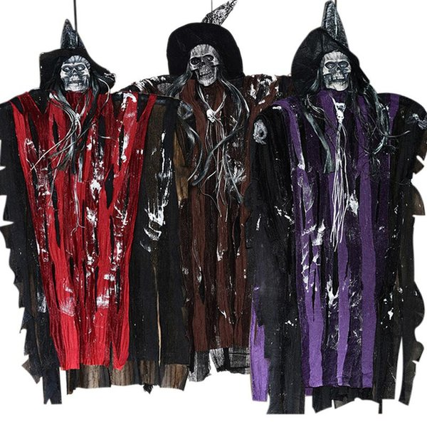 Controllo vocale strega Fantasmi di lino di Halloween Fantasmi di induzione elettrica Fantasmi orrori Casa stregata Camera Fuga appesi Giocattoli fantasma