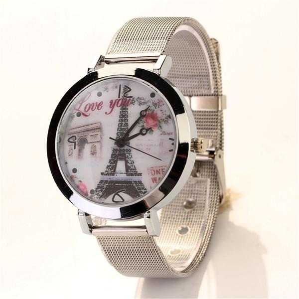 Aimecor Watch Tower Pattern Ladies Watches Women Stainless Steel Mesh Belt Women Crystal Band Wave Bracelet Watch