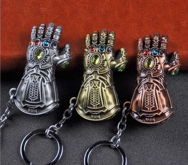 Alta Qualidade Vingadores 3 Guerra Infinito Thanos Infinito Luva de Energia Manopla Homens de Ouro Modelo 3D Chaveiros Chaveiro Presente Cosplay