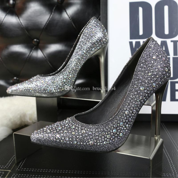 2018 Bridal Shoes Crystal Sequins Pointed High-heeled Party Shoes Sexy Dance High Heels Wedding Shoes Pink Black Gold Silver Blue Heel pumps