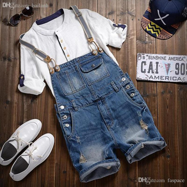 Wholesale-Men's casual summer style denim brand overalls men jeans for man Short knee length hole ripped jeans cool fit Jumpsuits hiqh