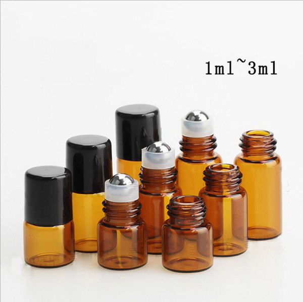 Top Supplier 1ml 2ml 3ml mini roll on glass bottles Amber perfume glass roller bottles for essential oil fragrance With Metal roller Ball
