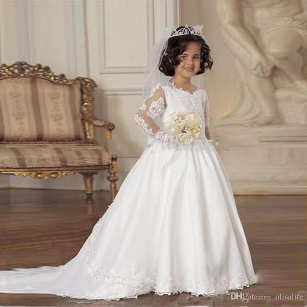 A-line First Communion Dresses Kids Frock Designs Formal Wear White Lace Applique Long Sleeve Flower Girls Dresses