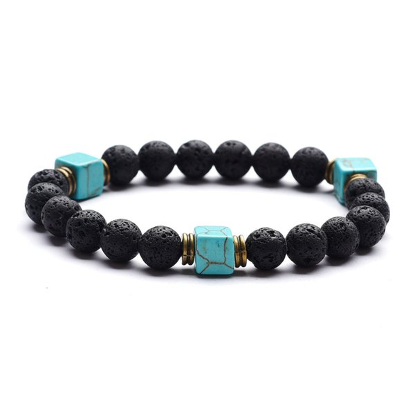 New Green Square Turquoise Essential Oil Diffuser Charm Bracelet 8mm Black Lava Rock Beads Bracelets Jewelry