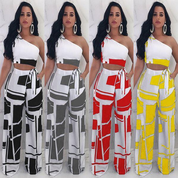 rectangular Strapless correias de duas peças de discoteca de duas peças das mulheres calças de duas peças conjuntos boate calças compridas calças das mulheres verão