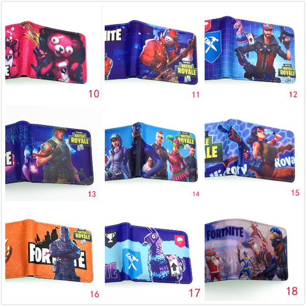 30pcs DHL 27 styles Kids Fortnite 3D PU wallet bags 2018 New Children Cartoon game wallet coin purse bag Cartoon Figure Toys Action Toys