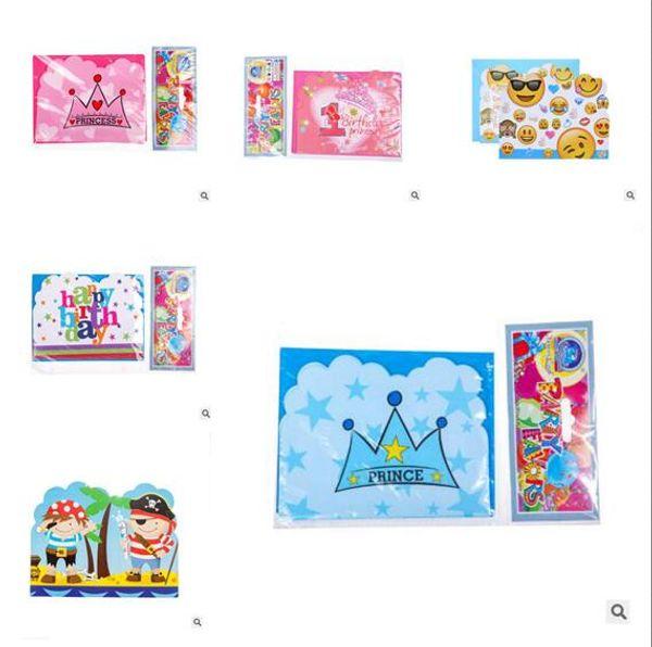 Princess Prince Party Paper Invitation Card Unicorn Flamingo Kids Emoji Happy Birthday Party Supplies Decoration Favors DHL Free Shipping