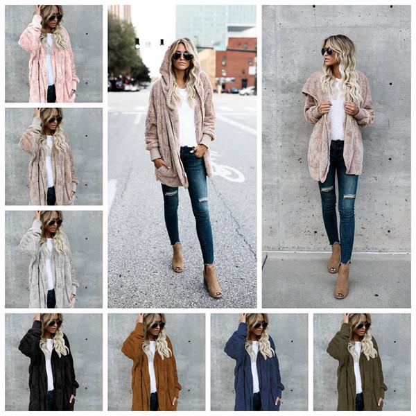 best selling Women Sweatshirt hoodie long sleeve sherpa fleece soft winter cardigan adorable warm women fashion coat Winter Warm Outwear top quality