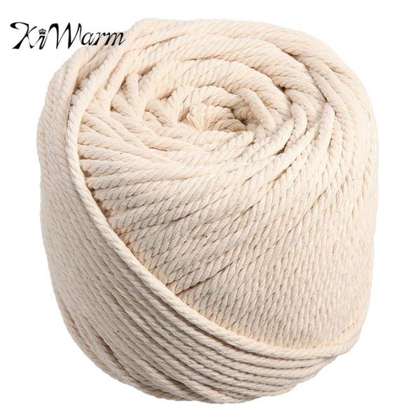 KiWarm Durable 5mmx90m Natur Beige Weiß Macrame Baumwolle Twisted Cord Seil DIY Heimtextilien Zubehör Handwerk Macrame String