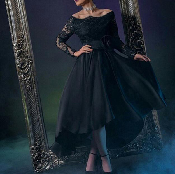 Sexy Black Lace A Line Evening Dresses Tea Length Long Sleeves Prom Gowns Sexy Boat Neck Appliques Illusion Red Carpet Dress Evening Gowns
