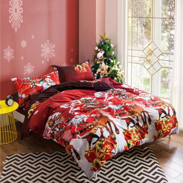 4 Styles 4pcs/set Happy Christmas Quilt Cover Set Cartoon Children Bedding Sets Santa Claus Xmas Deer 3D Printed Bedding Sets CCA10484 12set