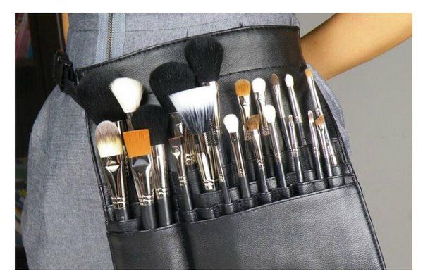 HOT Maquiagem Escova Titular Estande 22 Bolsos Cinta Preta Saco Da Cintura Salão de Beleza Maquiagem Cosméticos Organizador Escova Cosmética DHL / Fedex / TNT / UPS