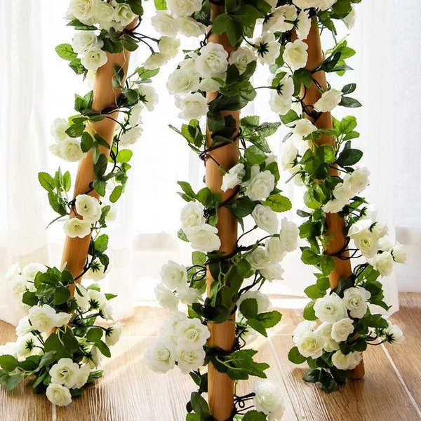 3PCS Artificial Rose Garlands Silk Fake Rose Flowers Green Leaves Vine Home Hotel Office Wedding Party Garden Craft Art Decor (white)