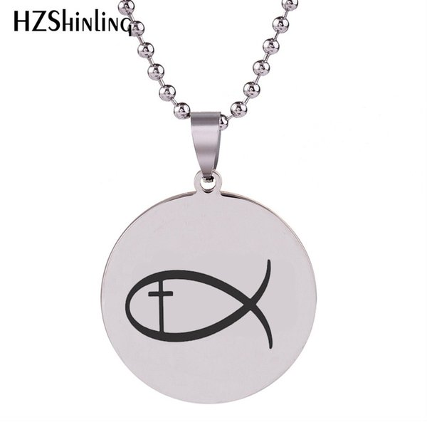 SS-0023 2018 New Fish With Jesus Ichthus Cross Engraved Pendant Handmade Stainless Steel Necklace Round Jewelry Ball Chain For Men