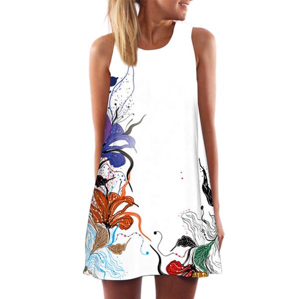 Women Dress Summer Womens Plus Size Clothing Vintage Boho Sleeveless Beach Various Patterns Printed Short Mini Dress 2018
