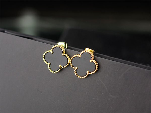 best selling Top Quality Celebrity design Women Letter Clover Stud Earrings Fashion Metal Flowers Opal Earring Jewelry With Box
