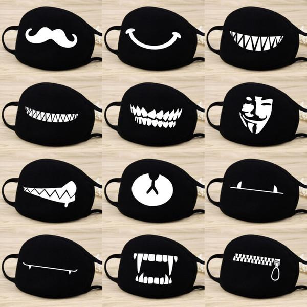 1pcs Cartoon Mask Fashion Anti Fog/Dust/Wind Cotton Mask Warm Beard Teeth Bear Print Mouth Mask Party Favor