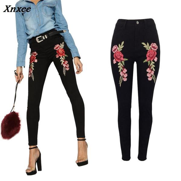 Jeans brodés taille haute jeans femme skinny pantalon en denim noir Stretch Casual Denim Plus Size S-2XL pantalon femme; jeans