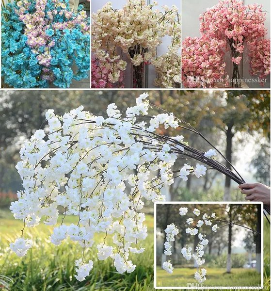 50pcs Artificial Cherry Blossom Branch Flower Wall Hanging Sakura 138cm for Wedding Centerpieces Artificial Decorative Flowers