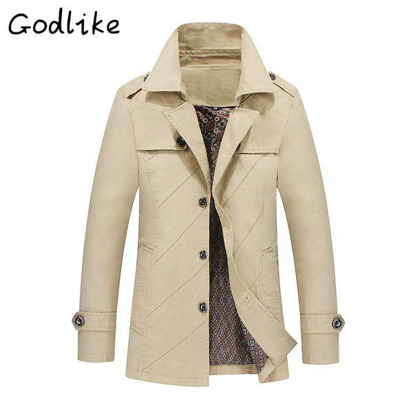 GODLIKE Nouveau 2018 printemps hommes d'affaires de mode casual coton long manteau / hommes baggy à manches longues couleur unie trenchs M-4XL