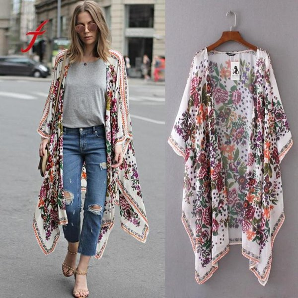 Feitong Sunproof kimono cardigan mujeres de manga larga estampado floral gasa chal suelta Top Cover Up camisa blusa Chemise Femme