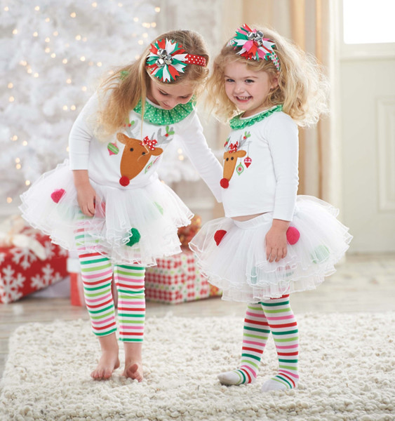 Girls Christmas Clothing Sets New Year Clothes Kids Long Sleeve Christmas Man Dot Dress Children's Two-piece skirt sets for Autumn Winter