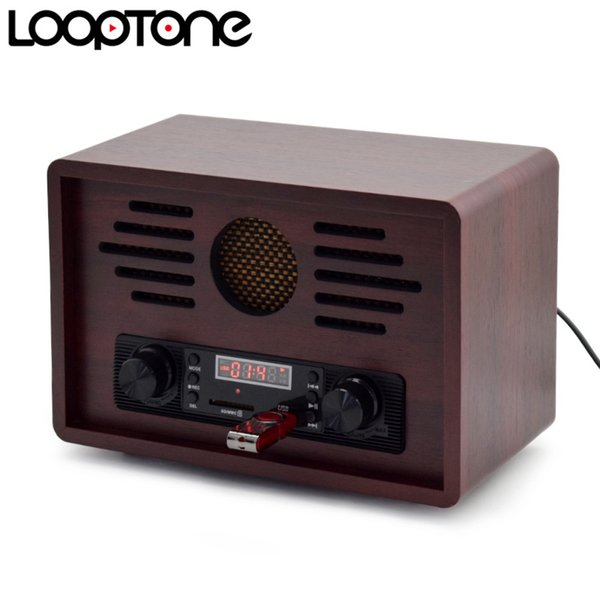 LoopTone Tabletop USB AM/FM Hi-Fi Radio Vintage Retro Classic Radio W/ Built-in Speaker FM Recorder Wooden 110~130V & 220~240V