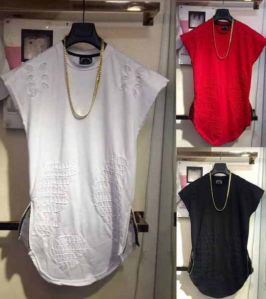 Destroy t-shirt Summer Sleeveless Tank Tops Holes Patched O-neck Long Solid Tees TOP