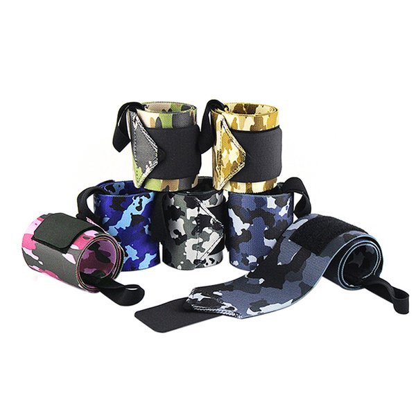 1 Pair Camo Nylon Wrap Bracer Elasticity Weightlifting Fitness Crossfit Wrist Support Band Tennis Sports Rock Climbing Elastic w