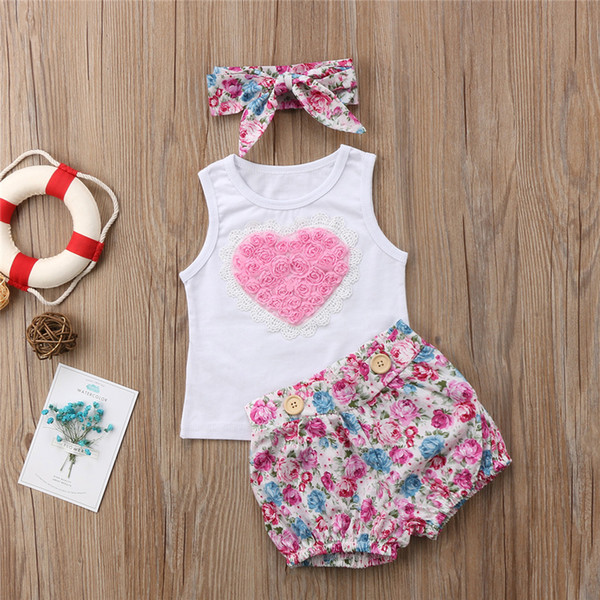 Floral Kids Baby Girls Younger Sister Dress Outfits Clothes Tops Vest Shorts Hairband 3PCS Set Pink Heart Family Matching Clothing Toddler
