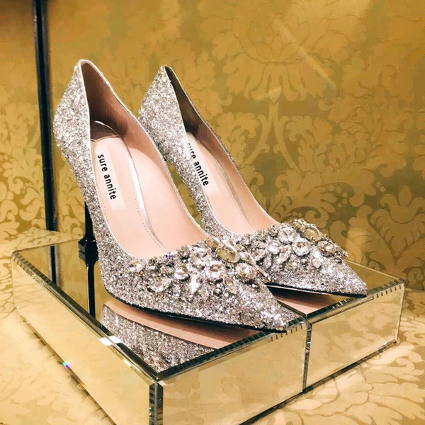 sliver color size 40 by handwork diamond sequins fine heel high pointed toe sliver bridal wedding dress party shoes 482