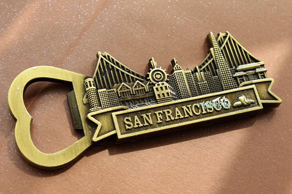 USA San FranTourist Travel Souvenir 3D Metal Fridge Magnet Craft Beer Bottle Opener
