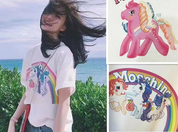 18ss High quality Luxury Italy Little Pony Horse Rainbow Tshirt Women Pegasus T Shirt Casual Cotton Tee Top